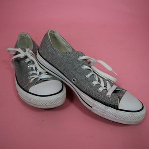 Size 10 Silver Sparkly Converse Sneakers Like New!